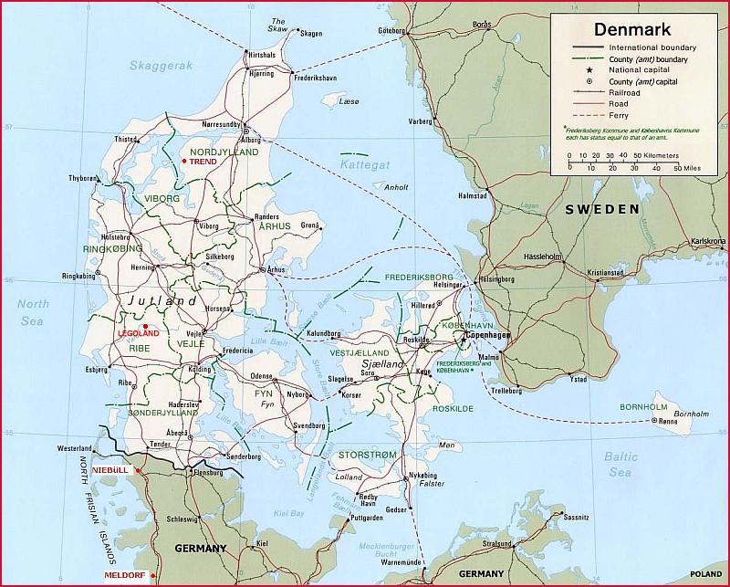 Landkaart van Denemarken