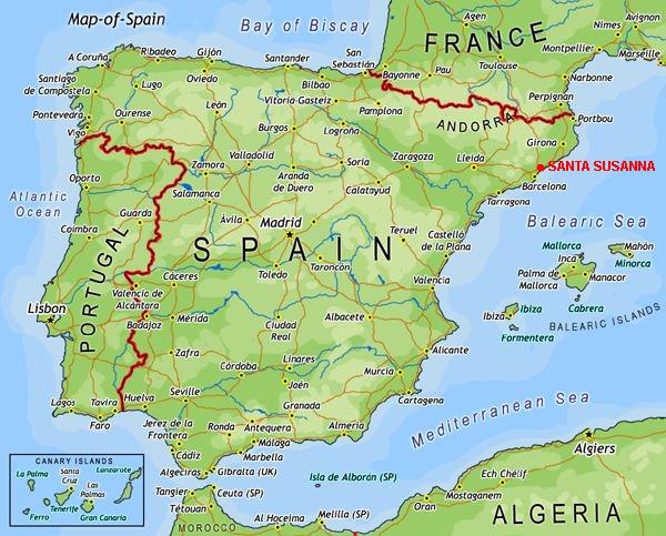 Landkaart Spanje