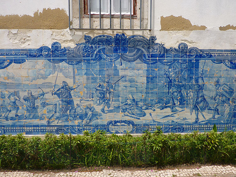 Tegeltableau met afbeelding van het Beleg van Lissabon © copyright Dutchmarco
