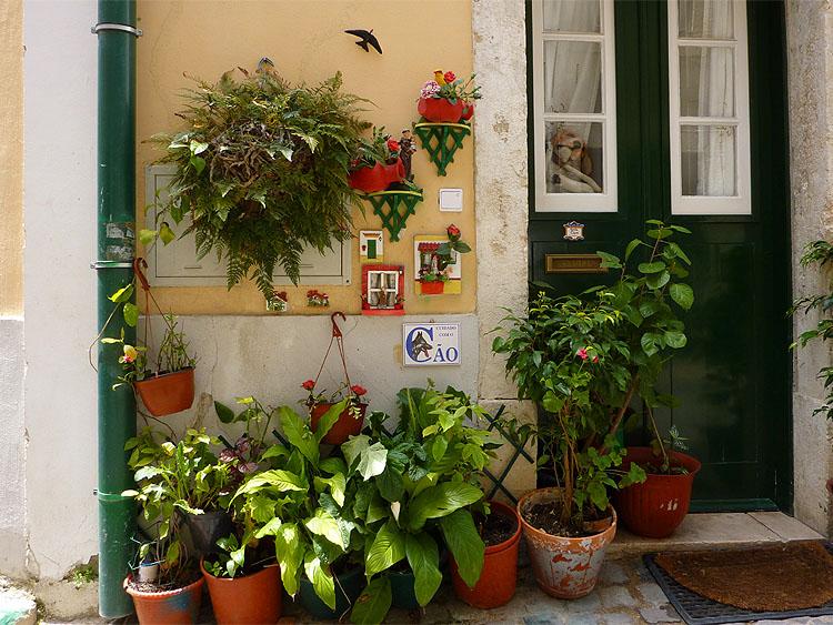 Het tuintje van een woonhuis in Lissabon © copyright Dutchmarco