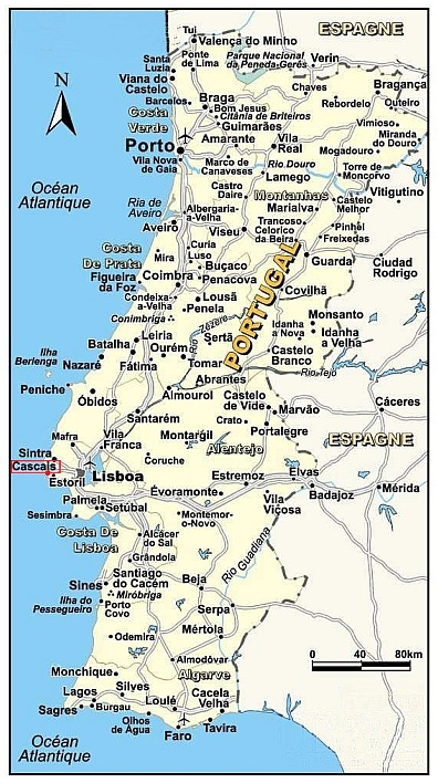 Landkaart Portugal