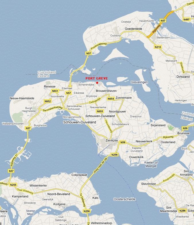 Landkaart Schouwen-Duiveland